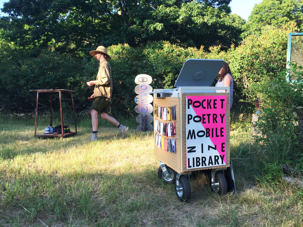 Breanne Trammell   Pocket Poetry Mobile Zine Library,  Ongoing copy machine & paper, boat battery, power inverter, your belongings