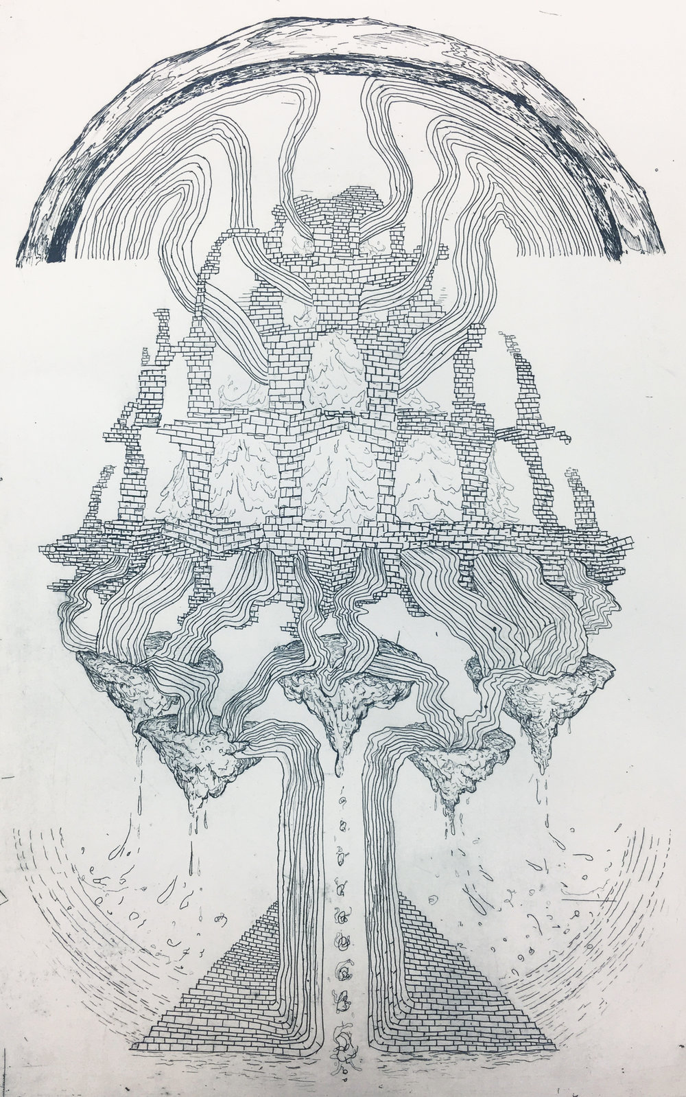 John O'Donnell   Hollow Earth: Morphology , 2017 etching