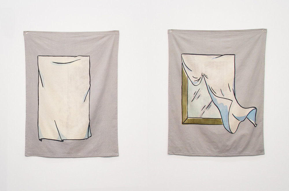 Aay Preston Myint Untitled (Mirror) II and Untitled (Mirror) III, 2016 screen print and monoprint in dye, pigment, and bleach on hand-dyed canvas