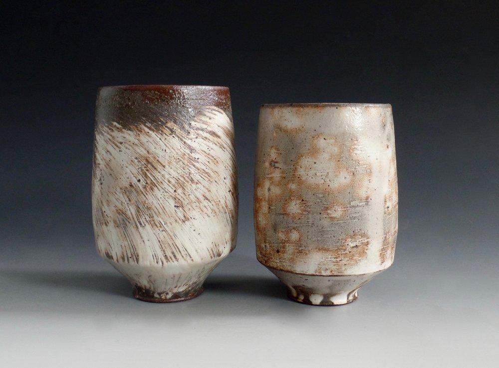 Nathan Willever   Two Yunomi , locally dug stoneware, white slip, cone 6 reduction