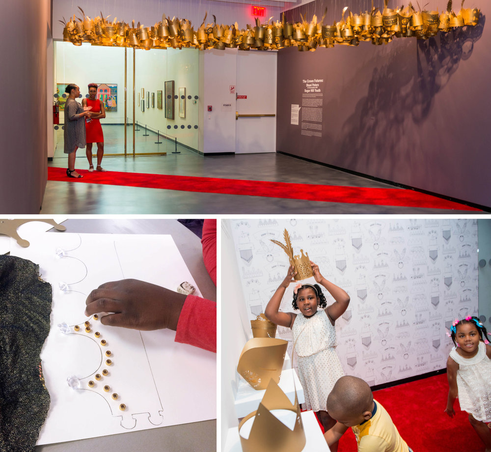 "Shani Peters Crown Futures (installation, process, and ""Selfi-Determination Station"" shots) Shani Peters with Sugar Hill youth for the Sugar Hill Children's Museum of Art and Storytelling, 2016, 300 lasercut paper crowns, red carpet"