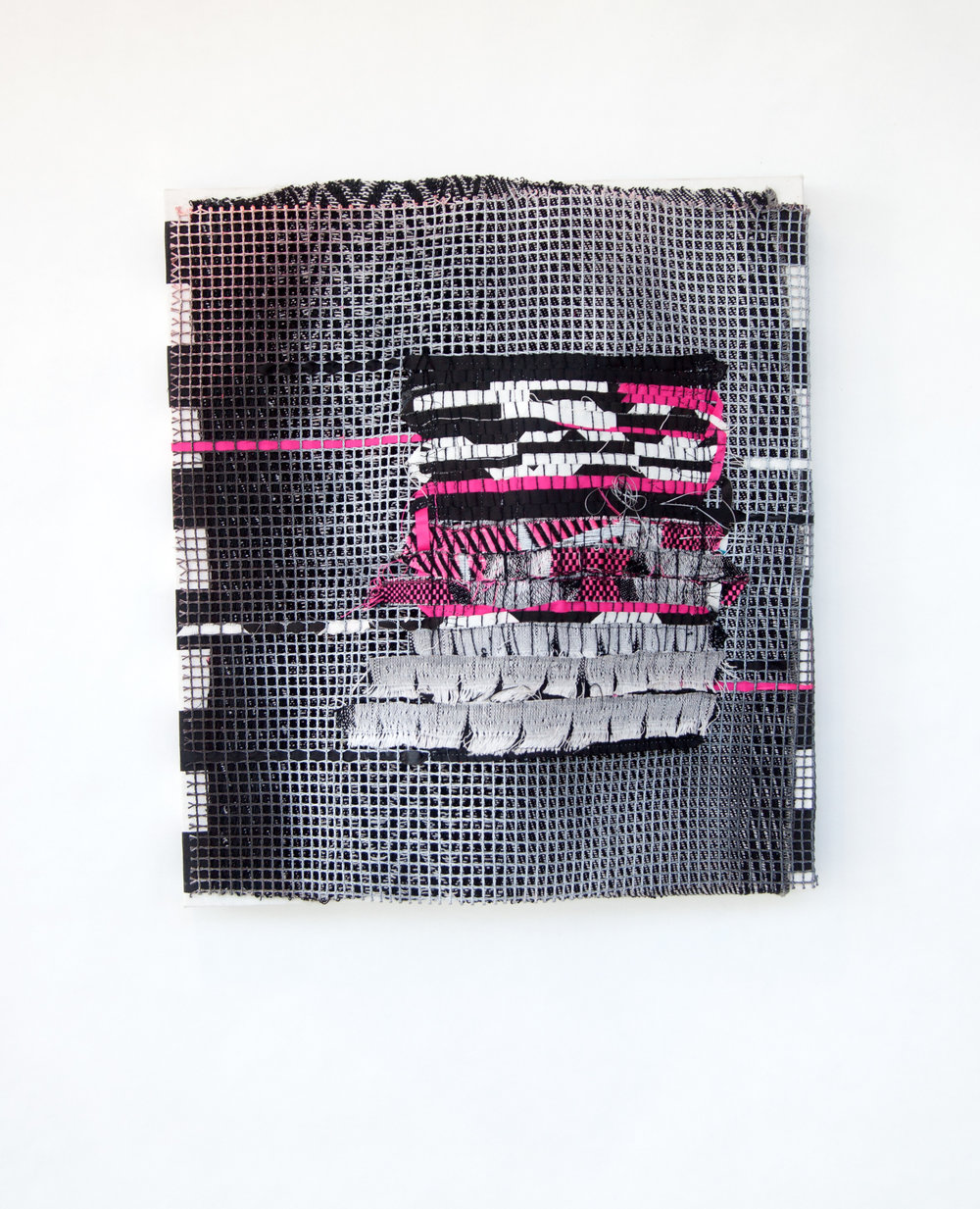 Marianne Fairbanks Tapestry Machine 1 (pink), 2017 polyester thread, yarn, plumbing line, reflective thread, invisible warp, fabric
