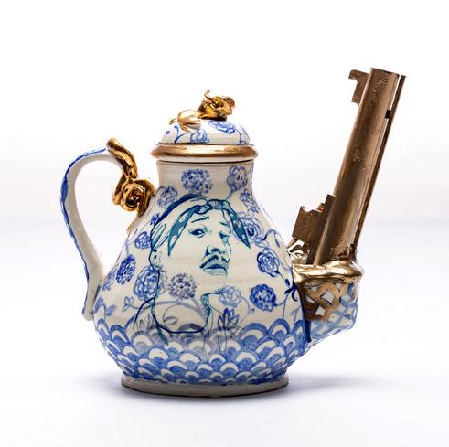 Roberto Lugo,    2pac gun teapot    porcelain  2018
