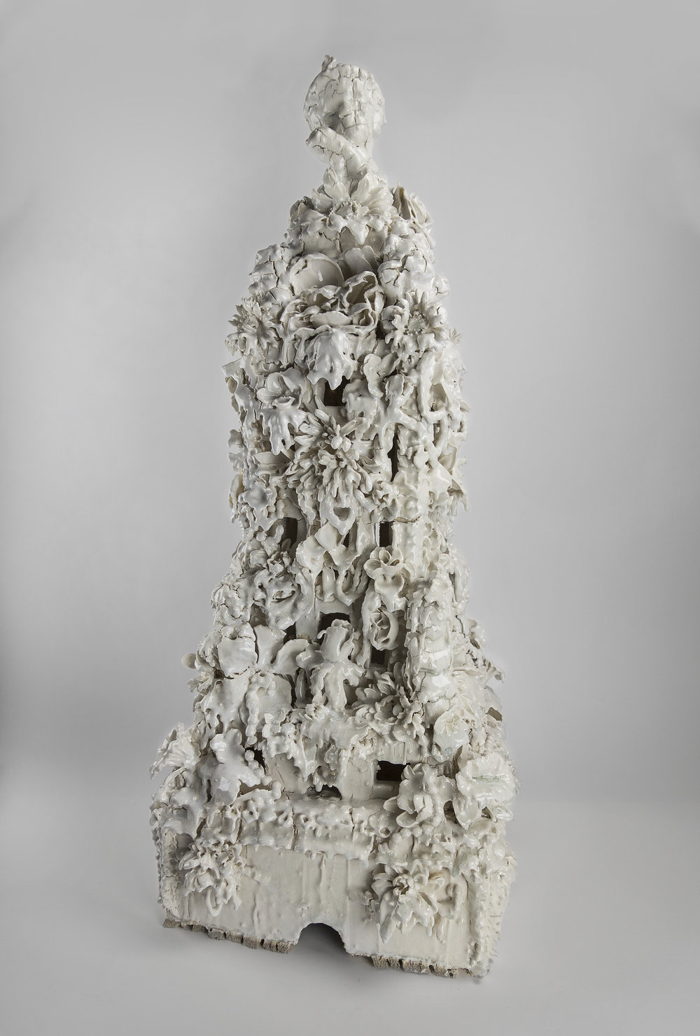 Anthony Sonnenberg   Model for a Monument (Dreams last for so long, even after you're gone)   Porcelain over stoneware, found ceramic  tchotchkes, glaze  35h x 15w x 15d in 2018