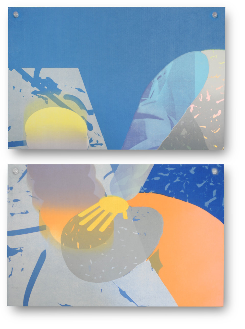 "Sonnenzimmer  (Nick Butcher and Nadine Nakanishi)    Stiff [.cava] & Swipe [.cava]   Screen print on punched synthetic felt,  modular acrylic peg system 24 x 36"" each 2017"