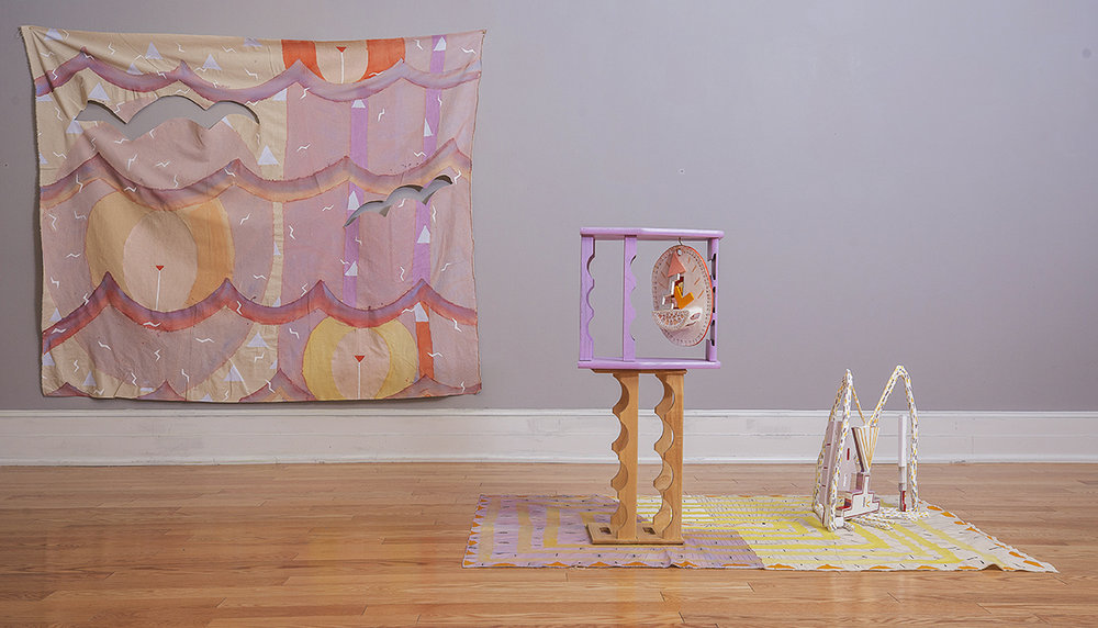 Susan Klein   Day Maze and Transmission   (foreground)  and   Day Breath   (background) oil on ceramic stoneware, plexiglass, wine racks, acrylic on epoxy resin clay and foam, acrylic, graphite, and gouache on canvas 2018