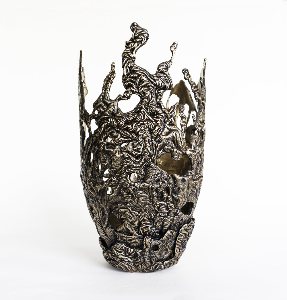 Steven Haulenbeek   Ice-Cast Bronze Lace Vessel #1   Cast Bronze 2018