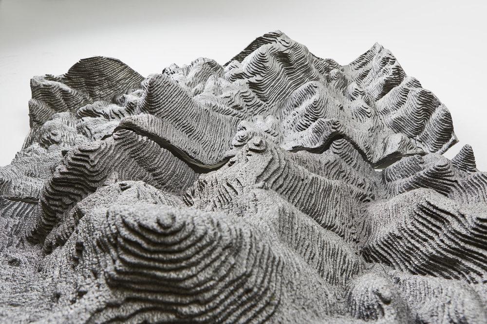 """Liz Ensz   Revisionist Landscapes (series)    cast iron 40"""" x 44"""" x 20"""" 2017"""