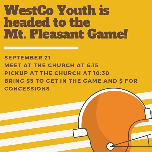 We can't wait to see you for youth group tonight! We'll be filling you in on all the details for our trip to the game Friday! See you soon! Community meal at 5:55 and youth starts at 6:30!