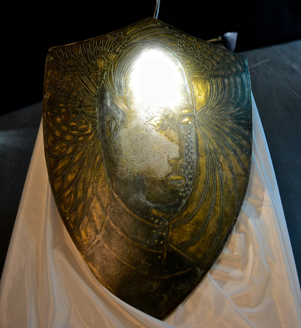 Full size bronze talisman shield that protects from mobile phone radiation.