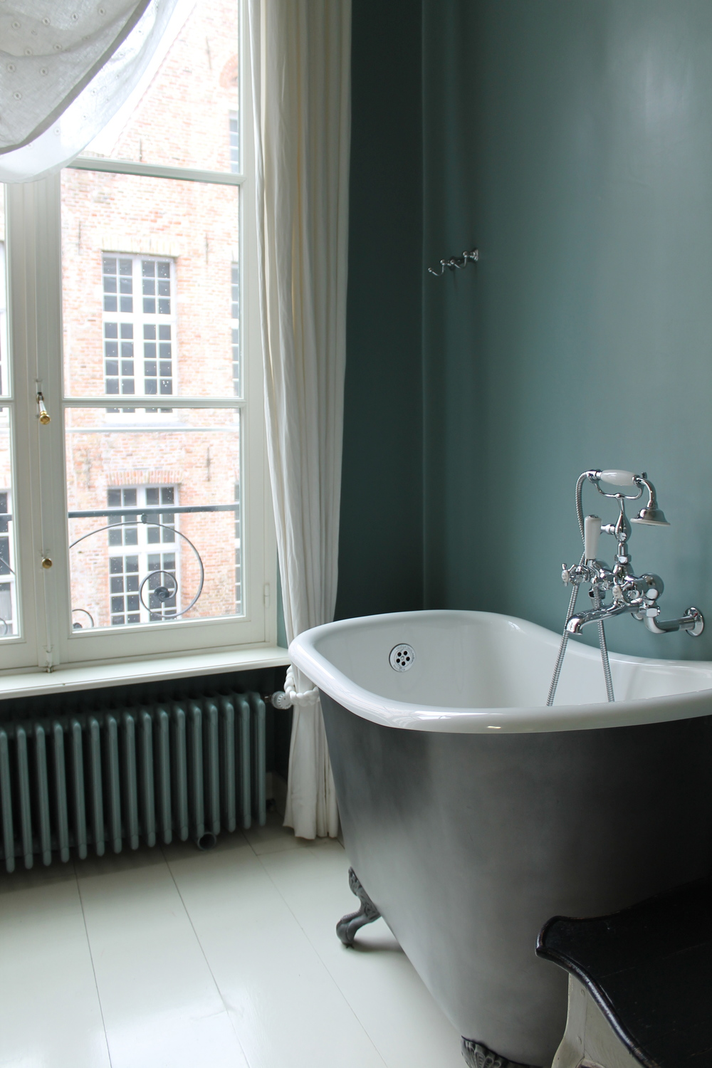 Our gorgeous claw foot tub in Belgium.
