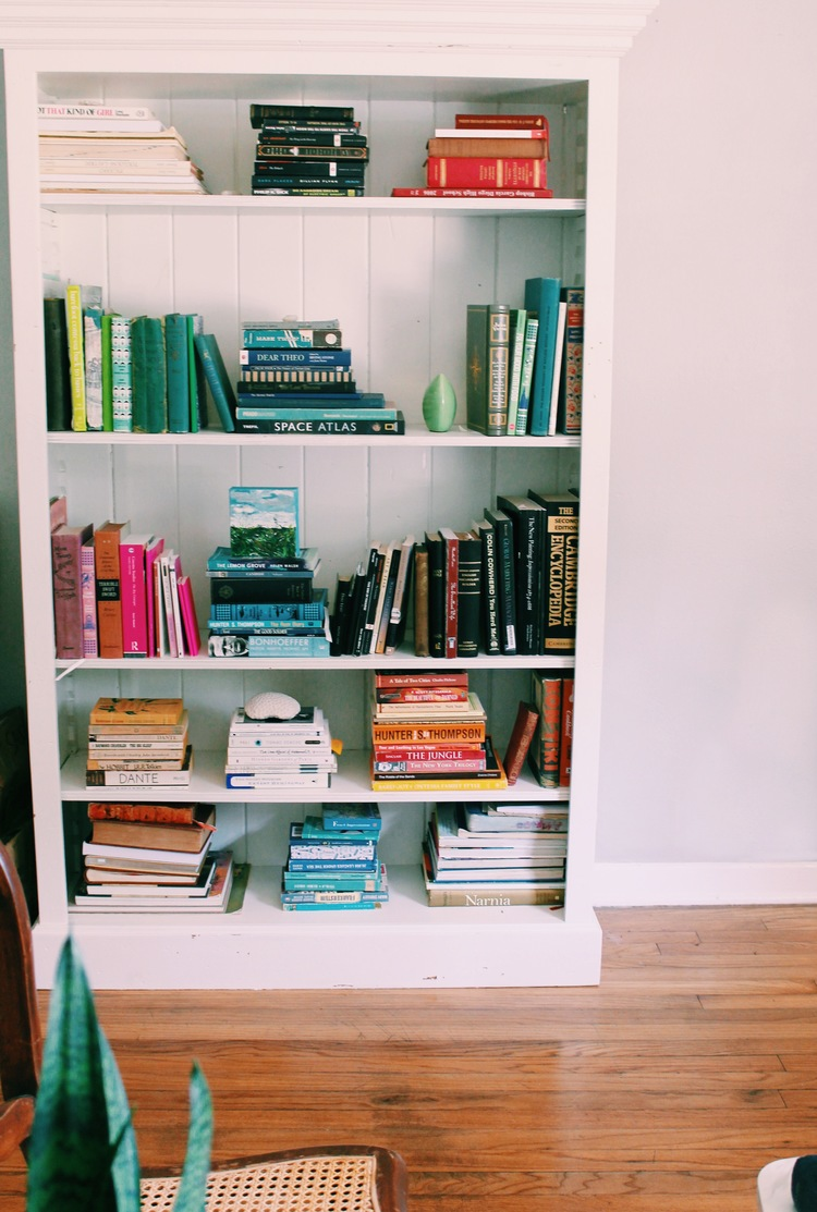 Color coordinated bookshelf.