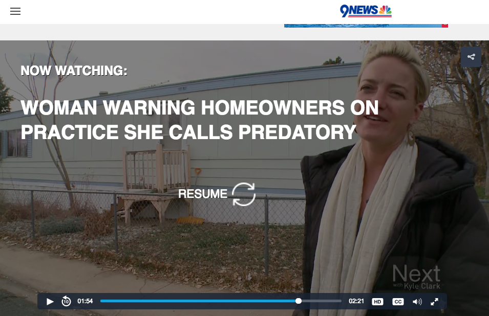 9News Feature on Mobile Home Tax Liens and work I did to save homes....