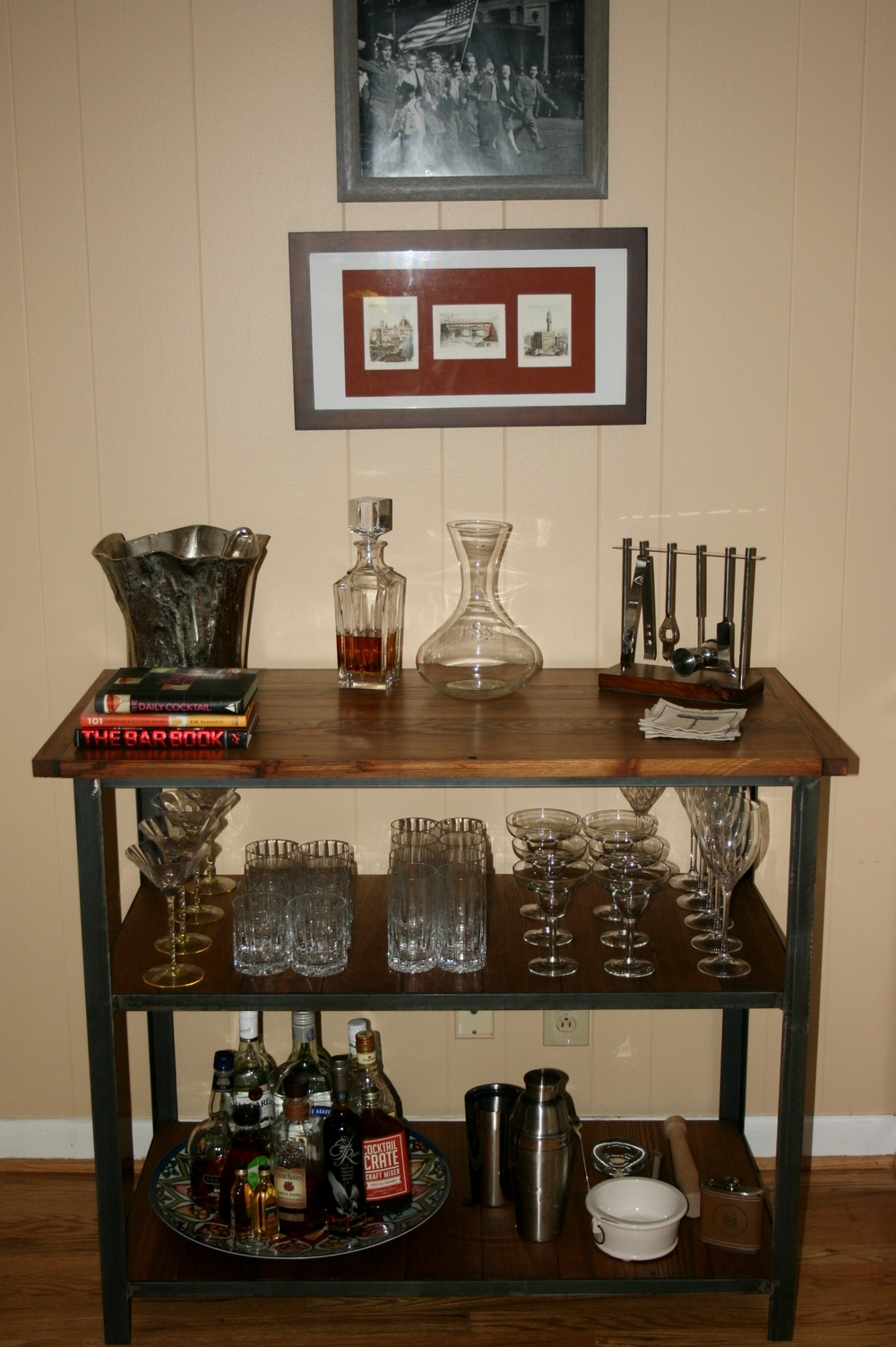 Bar cart all set up in Atlanta