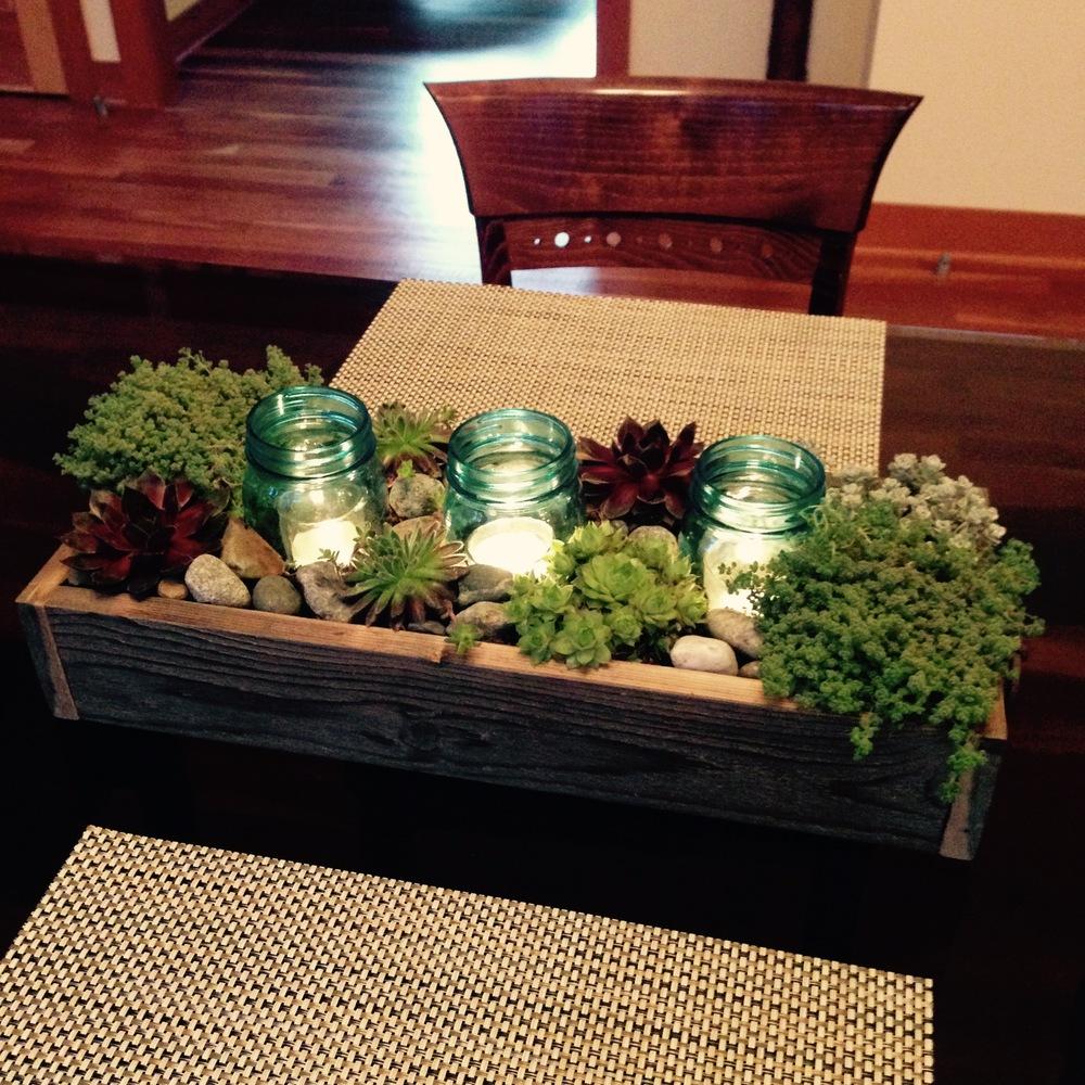 Custom succulent box centerpiece