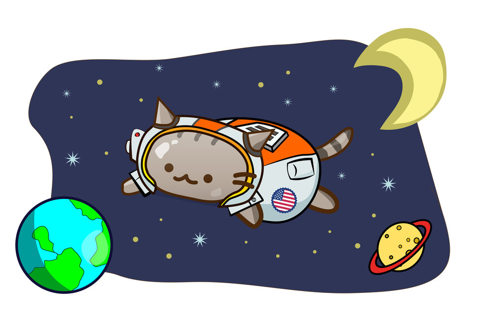 Space Cat   Self-explanatory. Designed as a Valentine's Day present for my girlfriend who loves cat as much as she loves NASA. Additional assets composited from stock vector libraries.