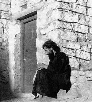 Elder Paisios of the Holy Mountain in the hermitageof St. Epistimi above St. Catherine's Monastery