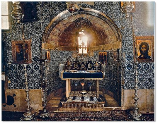 "Bruce M. White Photography    The altar of the ""Holy of Holies"" of St. Catherine's Monastery is placed directly over the roots of the Burning Bush, which grows outside the chapel."