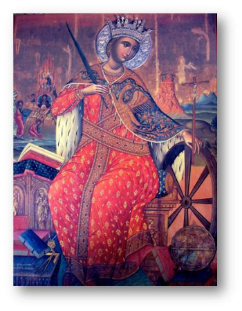 Saint Catherine is depicted with the symbols of her wisdom and martyrdom in this icon of the 17th century Cretan school on the imposing iconostasis of the Monastery basilica.