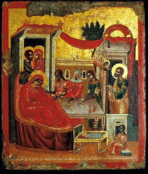 Sinai icon of the Nativity of the Most Holy Theotokos, 16th Century, St. Catherine's Monastery