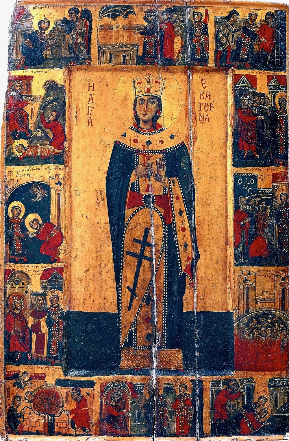 Thirteenth century icon of Saint Catherine with scenes from her life and martyrdom.