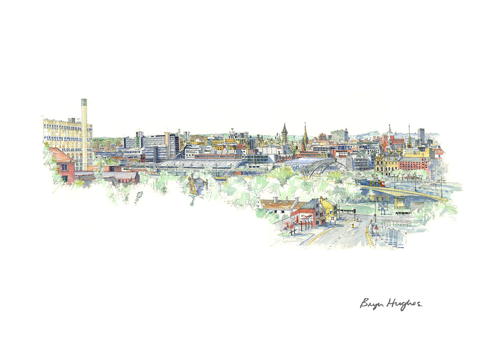 Sheffield Skyline Watercolour Painting