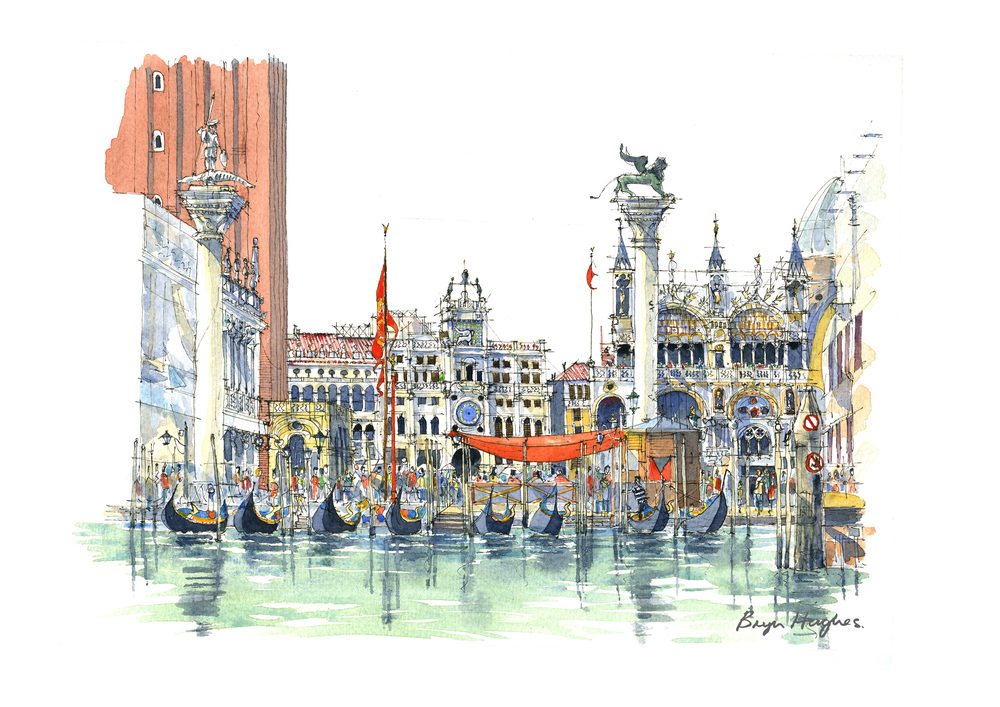 Watercolour of St. Mark's Square from The Grand Canal, Venice