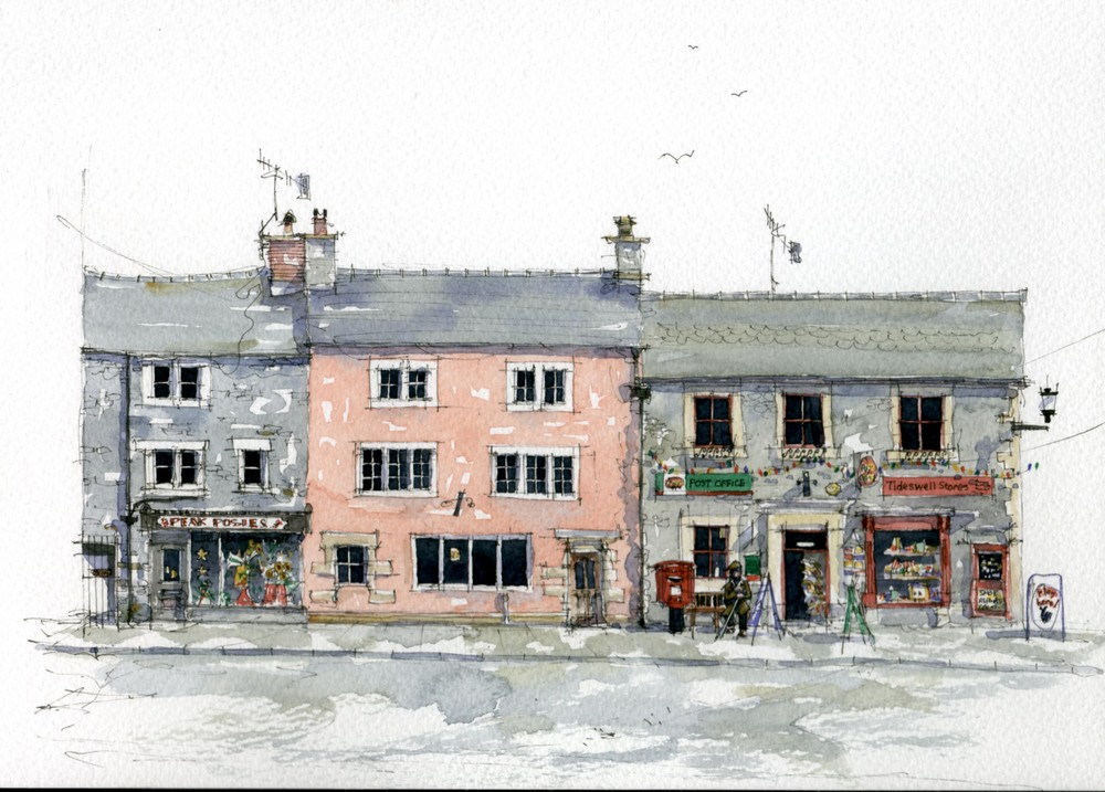Watercolour painting of village post office