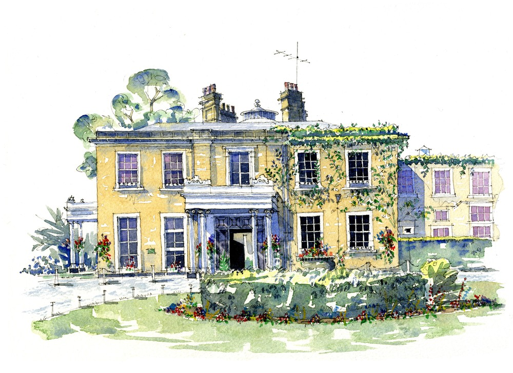 Watercolour Painting of a Country House