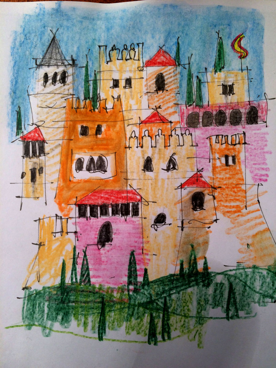 Granada Towers - following our visit to Spain I'm thinking of images I've retained in my mind for turning into full size paintings - this is my first sketch idea