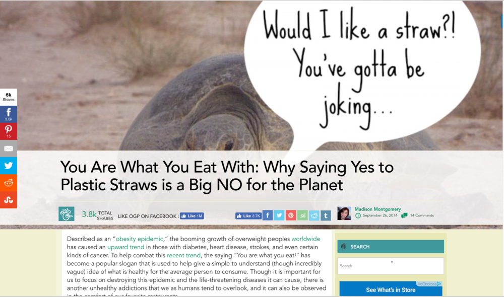 - You Are What You Eat With: Why Saying Yes to Plastic Straws is a Big NO for the Planet
