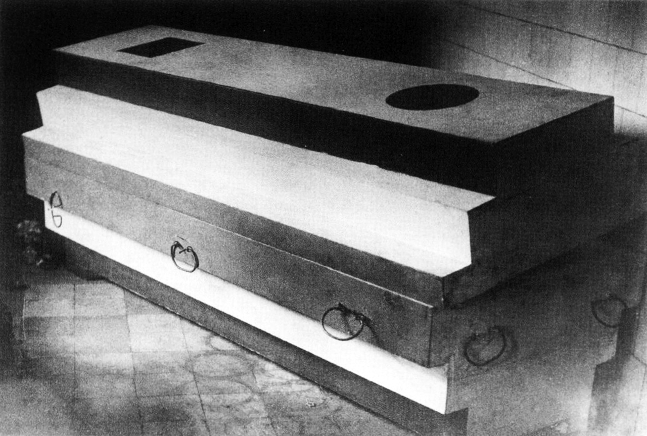 archiveofaffinities :     Nikolai Suetin, Design of Kazimir Malevich's Architecton Coffin, 1935
