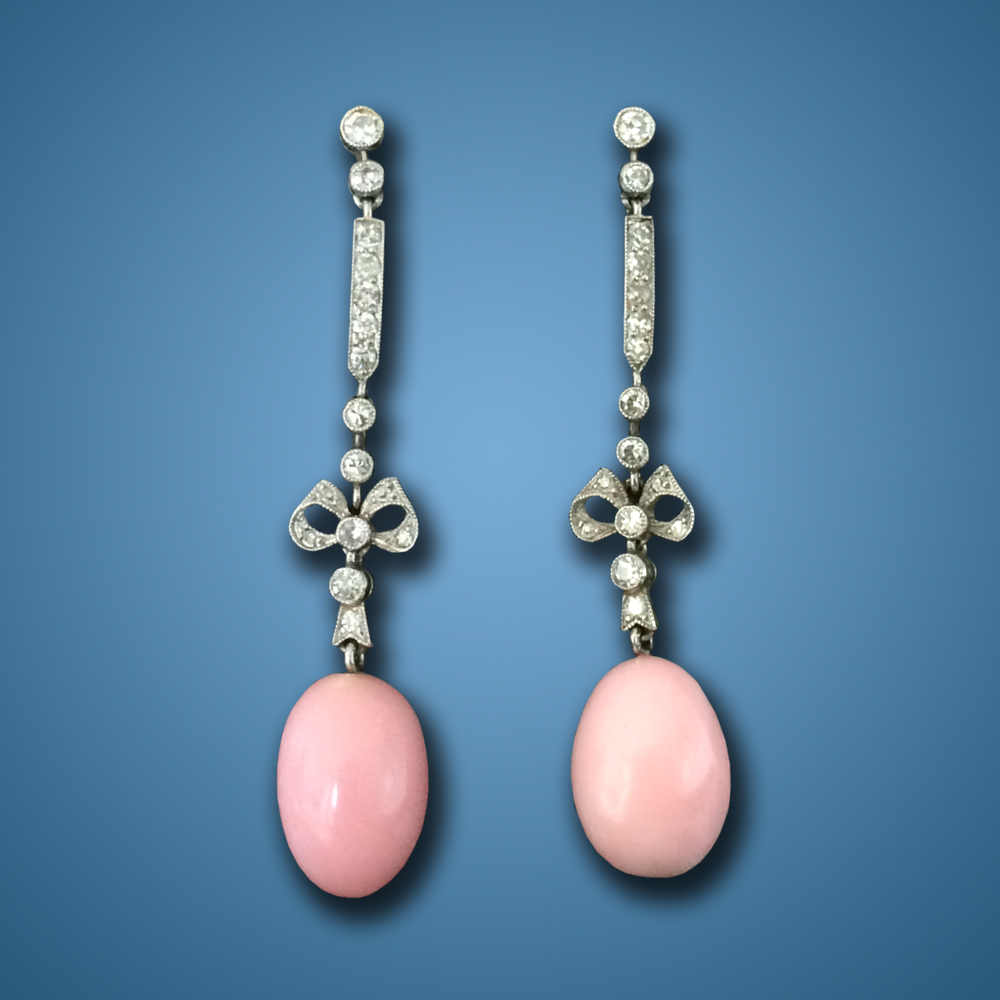 Belle Epoch Conch Pearl Earrings, ca. 1910s