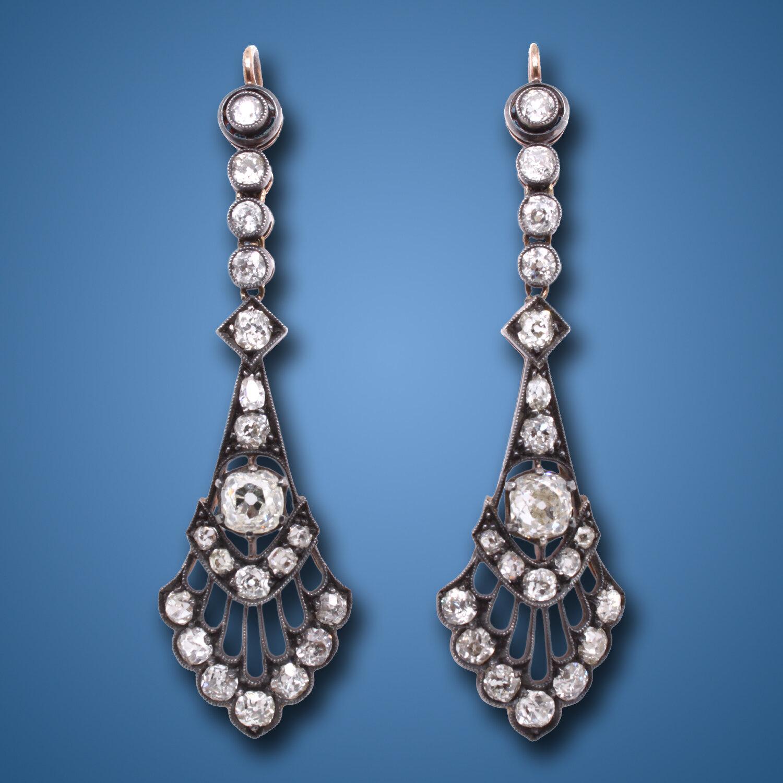 Victorian Old Mine Cut Diamond Earrings Ca 1890s A Rakyan Collection