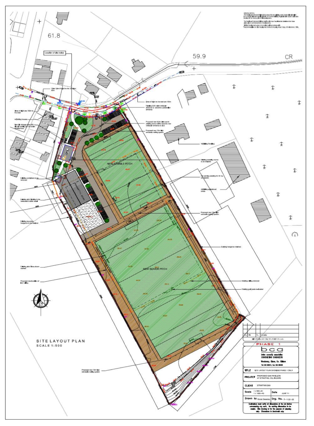 Site layout of the clubhouse and adjoining pitches.