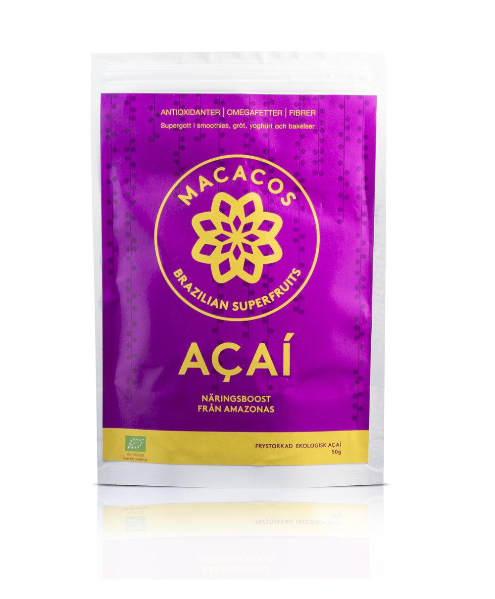 Acaipulver 50g (Ekologisk)  Gott, enkelt och nyttigt! MACACOS Acaipulver frystorkas direkt efter plockning för att bevara så mycket som möjligt av näringen. Du behöver inte kämpa för att få i dig nyttigheter! Smaken påminner om kakao och vilda bär - proppad med antioxidanter och fibrer!