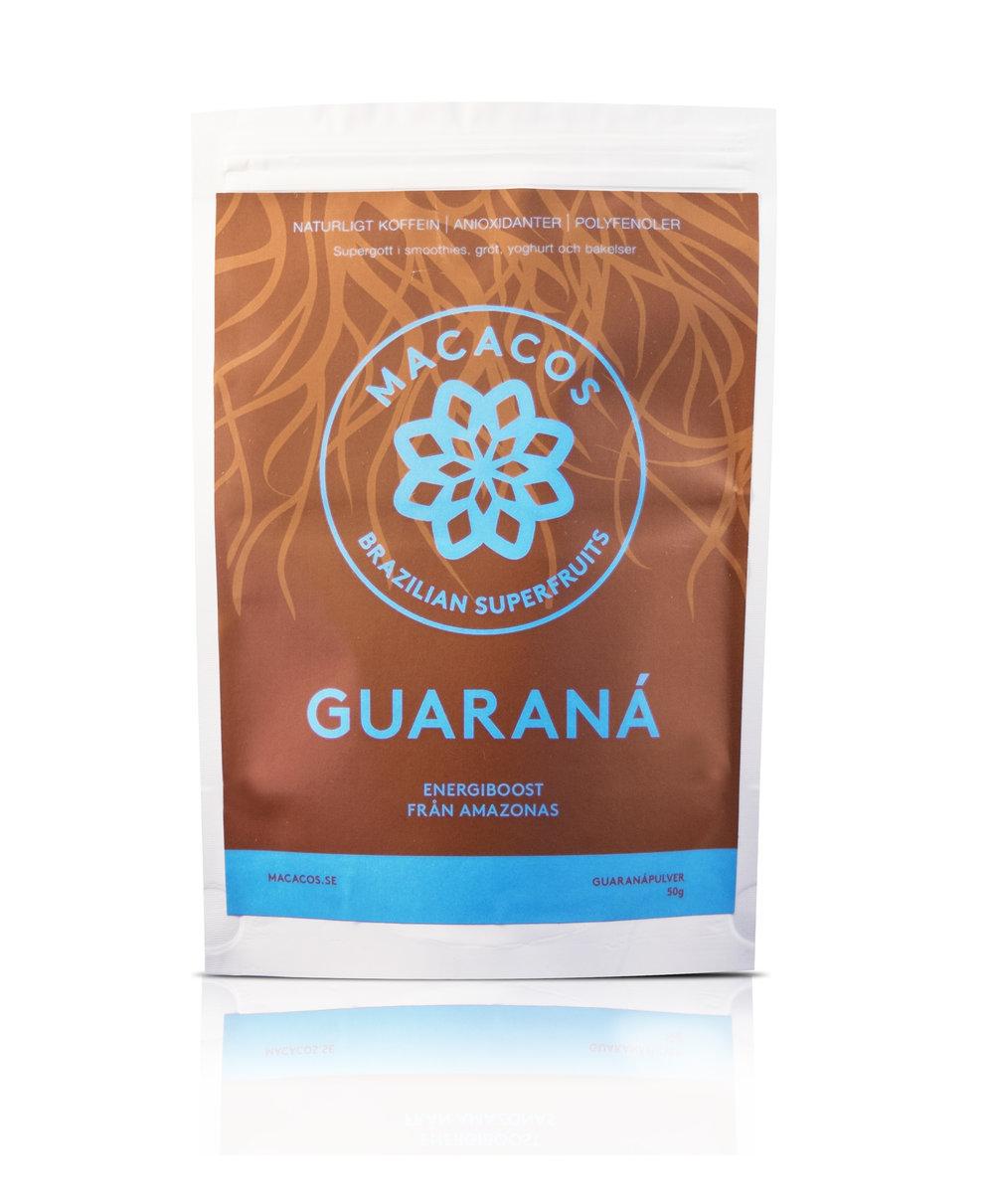 Guaranápulver 50g (Ekologisk)  Guaraná är en riktig energiboost på morgonkvisten eller innan träning! Vårt guaranápulver males ned och soltorkas sedan. Bönan innehåller dubbelt så mycket koffein som kaffe men frisläpps sakta i kroppen - vilket ger en långvarig och stabil energi! Lite besk smak. Guaraná passar bra ihop med kakao i ett glas varm mjölk eller att strö över gröten.