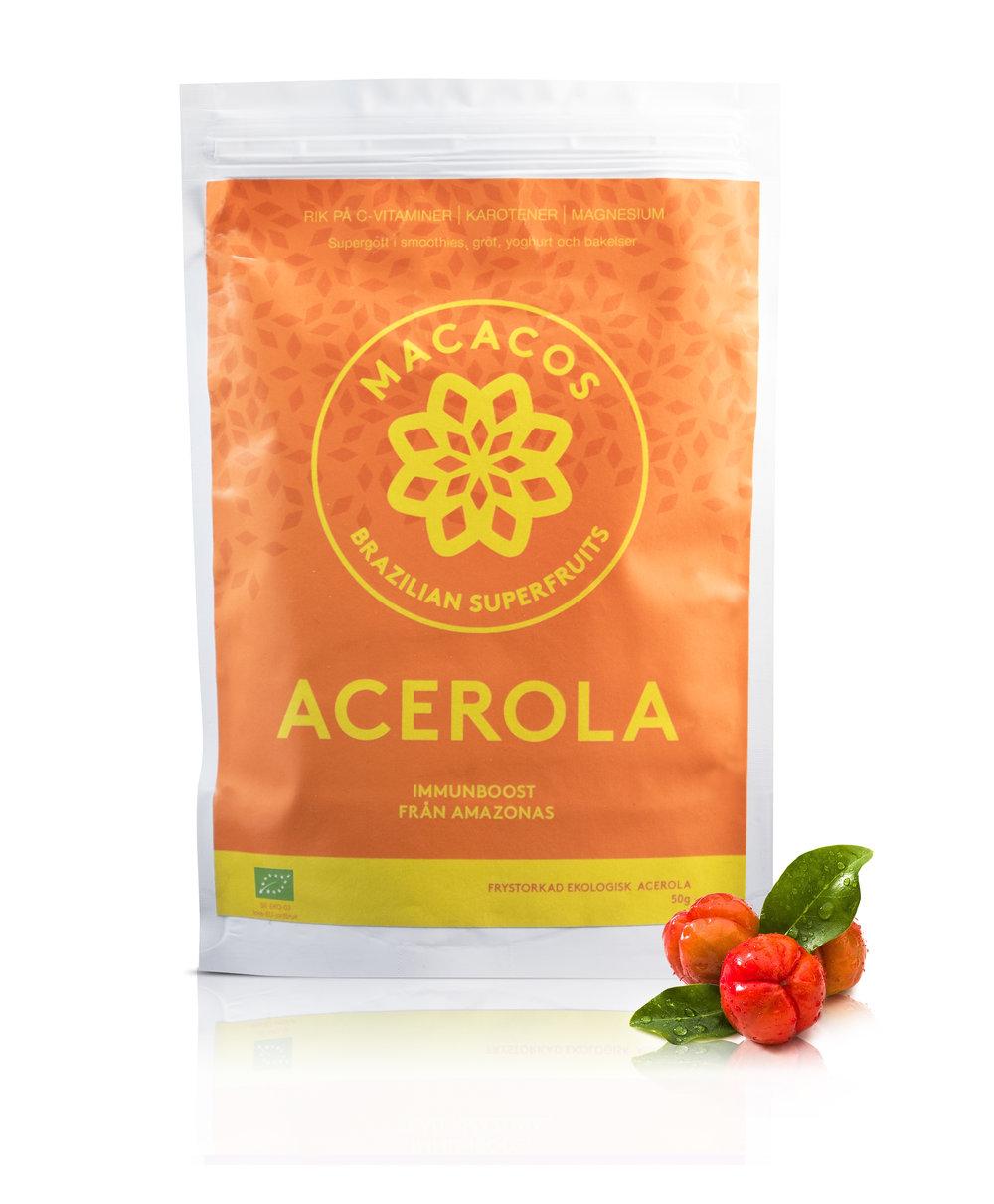 Acerolapulver 50g (Ekologisk)  Acerola är en riktig immunboost! Pga sin enorma mängd C-vitamin har Acerola lite citrusliknande smak (syrlig/sur) och 1 acerolafrukt innehåller ungefär lika mycket C-vitamin som 90 apelsiner! Därför räcker det med 1/2 tsk acerolapulver varje dag för att få i dig tillräckligt.