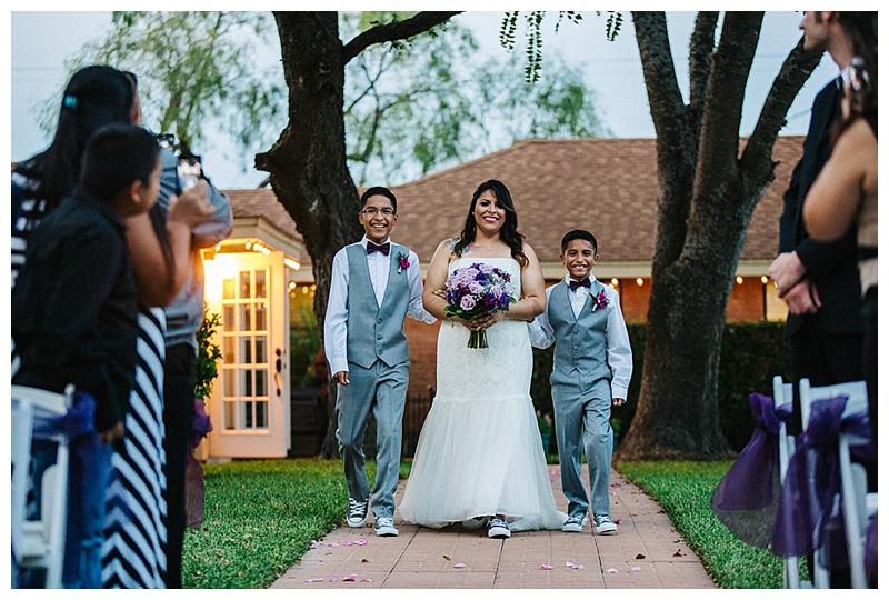 Kids walk mom down the isle - Texas Wedding