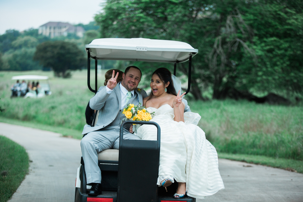 golf cart bride and groom