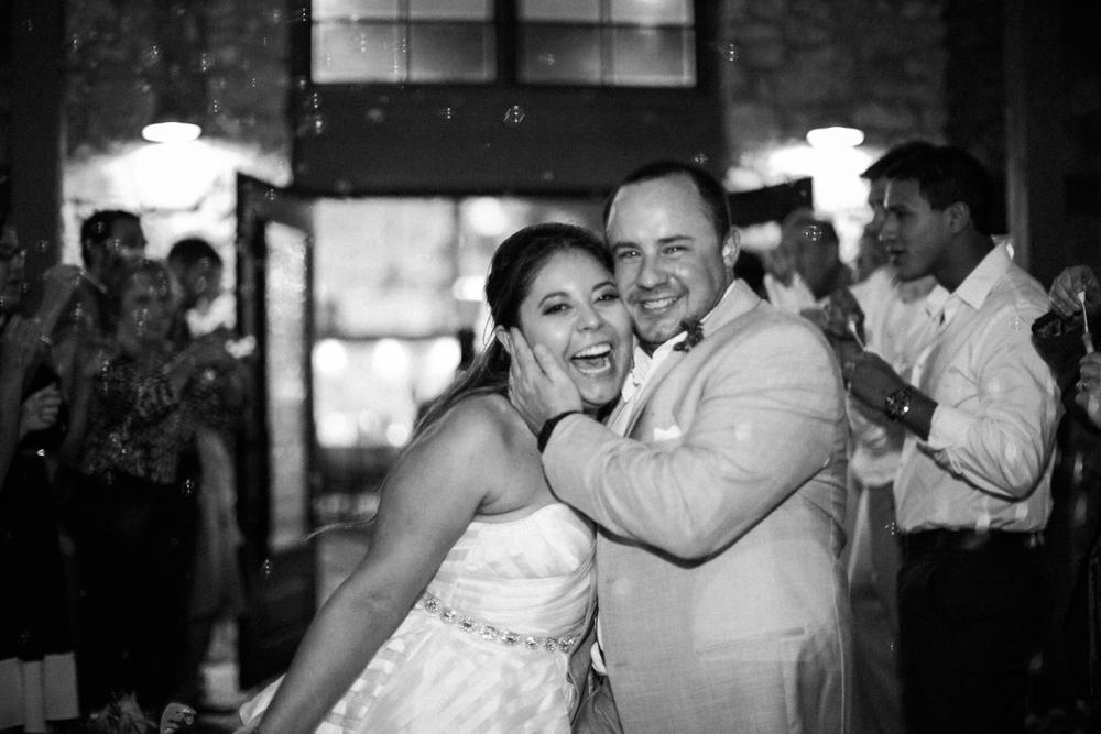 black and white texas wedding exit