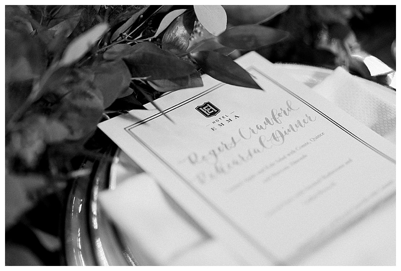 hotel Emma Place Card - San Antonio Weddings