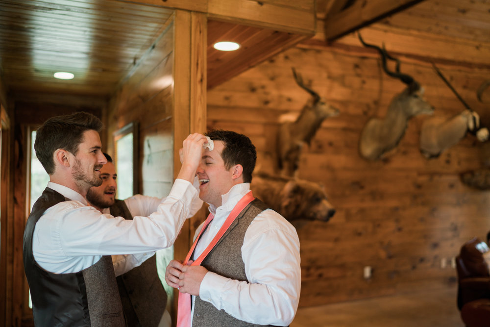 groom dab - wedding at honey creek events