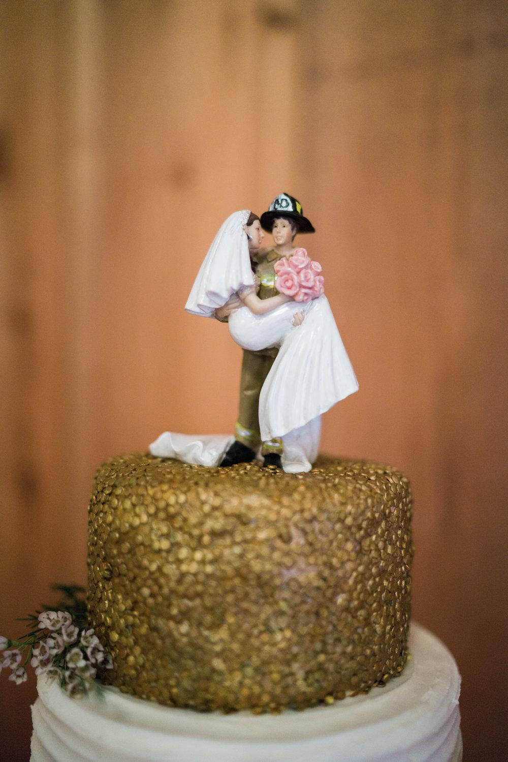cake topper - fireman bride