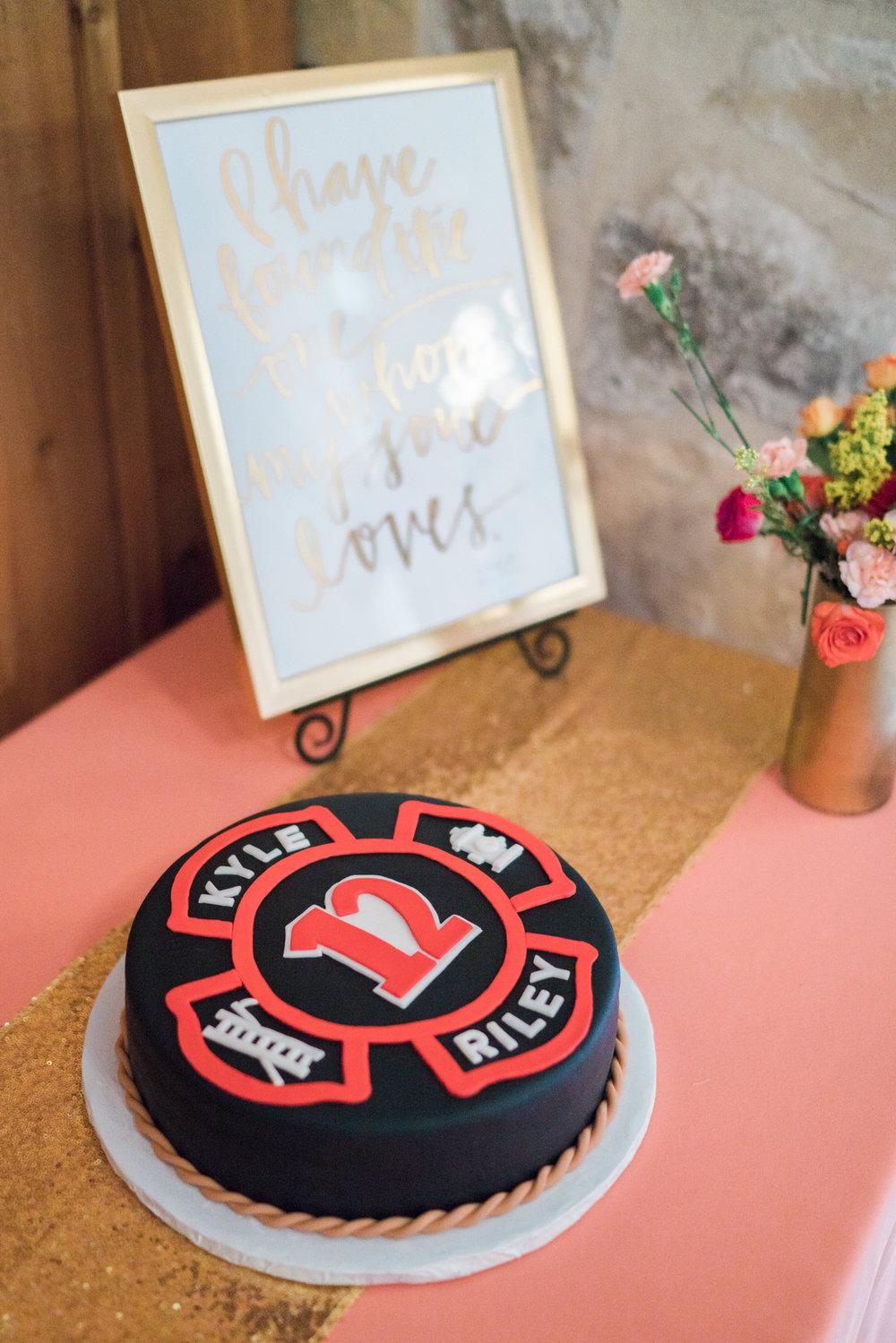 fireman wedding cake