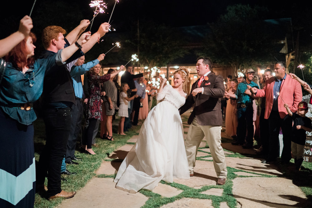 sparkler exit - honey creek weddings