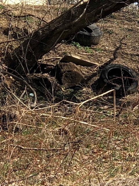 Near Front Street, Hellertown, old tires dumped outside.