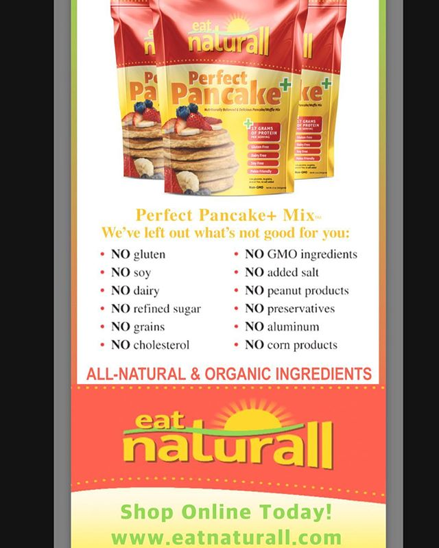 Visit us at www.eatnaturall.com to purchase our Perfect Pancake/Waffle + Mix  all three flavors available !!! Original, Blueberry and Banana Nut  Use promo Code EN16 to receive additional 10% off Buy 3 or more get free shipping!!! #freeshipping#proteinpancakes#proteinwaffles#protein#breakfast#proteinmuffin#glutenfree#grainfree#dairyfree#nongmo#soyfree#gains#fitness#ctrw#ctown#blueberry#banana#justaddwater#healthy#health#celiac#glutenfreefood#cleaneating#proteinbreakfast
