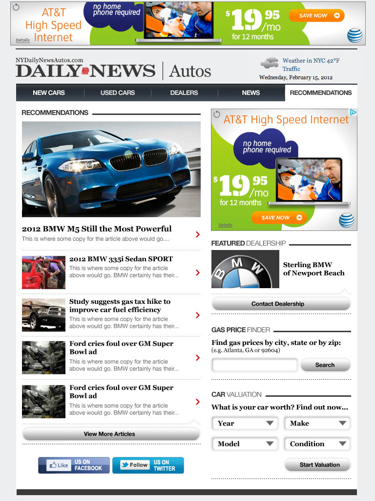 NYDN Autos - Tablet Subsection
