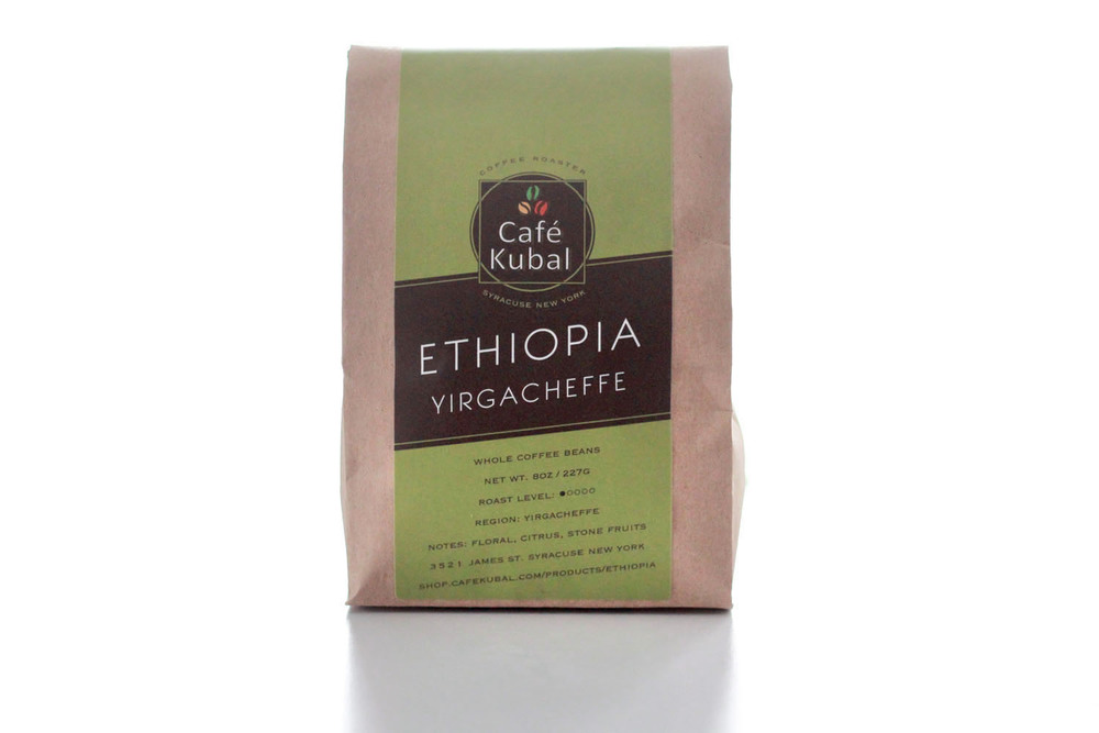At Café Kubal, we carry an Ethiopian organic and fair trade coffee, a delightful, light, yet complex coffee. Full of floral and apple like notes that leads to a mild citrus finish. If you want to pair a baked good with our Ethiopian, we suggest our homemade apple cinnamon muffins that would really resonate with the fruitiness of the coffee.  For manual brewing, we recommend a Chemex to get the most out of Ethiopia. Roast : Light Region : Yirgacheffe Notes : Floral, Citrus, Stone Fruits